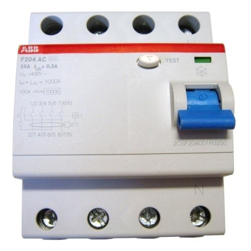 УЗО ABB F204 25A 300mA (0,3A, тип AC) трёхфазное