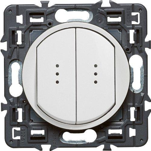 Legrand Celiane Выключатель-переключатель двухклавишный с подсветкой (белый)