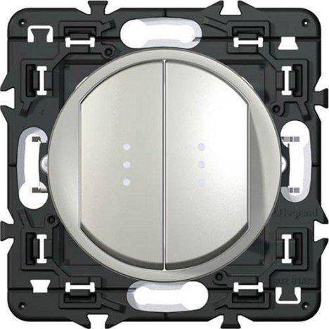 Legrand Celiane Выключатель-переключатель (проходной) двухклавишный с подсветкой (титан)