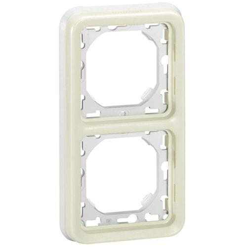 Legrand Plexo Суппорт с рамкой для встроенного монтажа Белый 2 поста - вертикальная установка