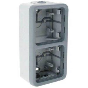 Legrand Plexo Двухместная монтажная коробка Серый 2 поста - вертикальная установка