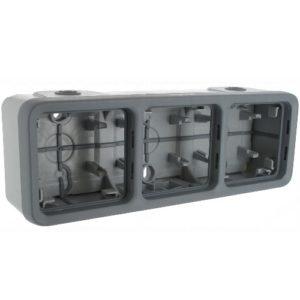 Legrand Plexo Трехместная монтажная коробка Серый 3 поста - горизонтальная установка