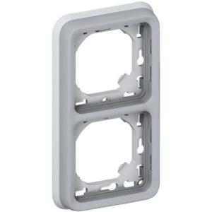 Legrand Plexo Суппорт с рамкой для встроенного монтажа Серый 2 поста - вертикальная установка