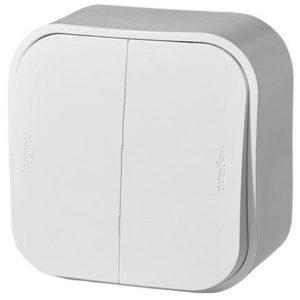Legrand Quteo Выключатель 2-клавишный цвет Белый