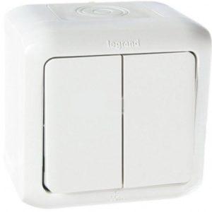 Legrand Quteo Переключатель 2-клавишный (с двух мест) IP44 10А цвет Белый