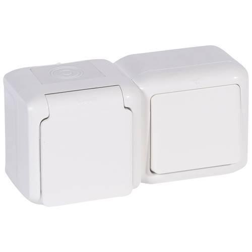 Legrand Quteo Выключатель + розетка влагозащищённая с заземлением 16A с защитными шторками винтовой зажим цвет Белый