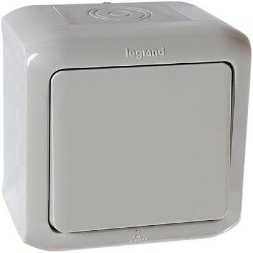 Legrand Quteo Выключатель 1-клавишный IP44 10А цвет Серый