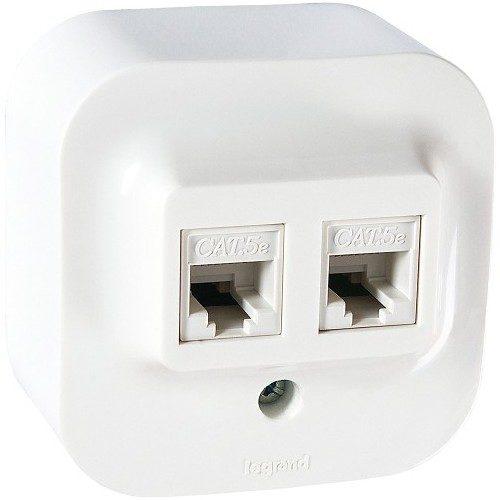 Legrand Quteo Розетка компьютерная двойная 2хRJ45 UTP кат.5е цвет Белый