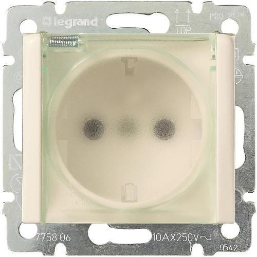 Legrand Valena Розетка с заземлением 2К+З с прозрачной крышкой (влагозащищенная) Слоновая кость