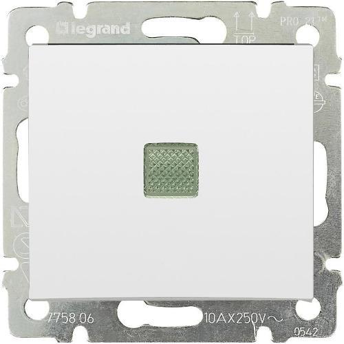 Legrand Valena Выключатель одноклавишный с подсветкой Белый
