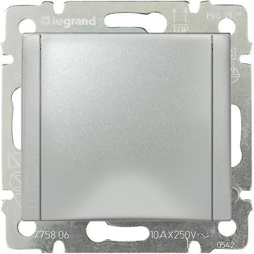 Legrand Valena Розетка с заземлением 2К+З c крышкой Алюминий