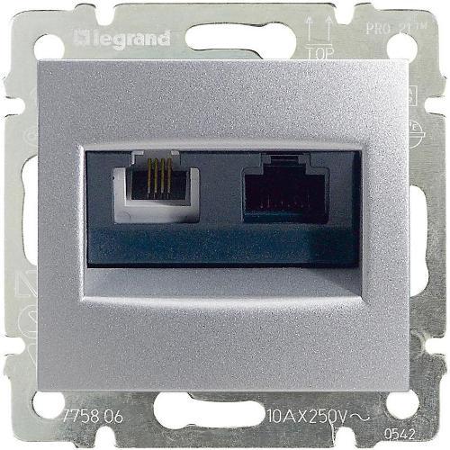 Legrand Valena Розетка телефон/интернет RJ11/RJ45 Алюминий
