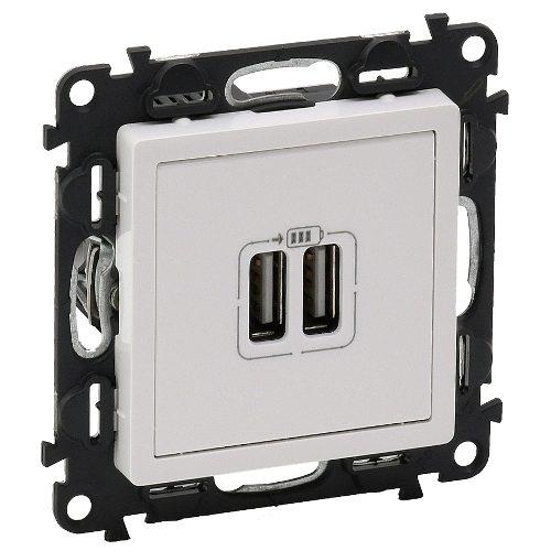 Legrand Valena Life Розетка зарядная USB двойная 5v 1500mA винтовой зажим Белый