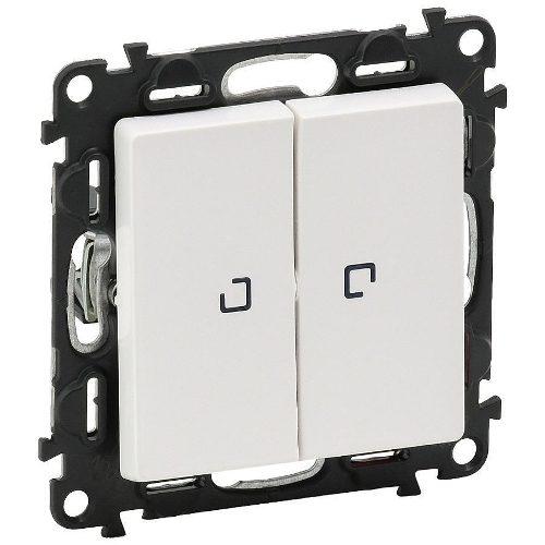 Legrand Valena Life Кнопочный выключатель 2 клавишный с подсветкой 10А 250В безвинтовые зажимы Белый