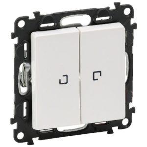 Legrand Valena Life Выключатель 2 клавишный с подсветкой 10А 250В безвинтовые зажимы Белый