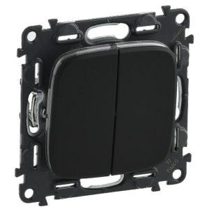 Legrand Valena Allure Кнопочный выключатель 2 клавишный 10А 250В безвинтовые зажимы Черный
