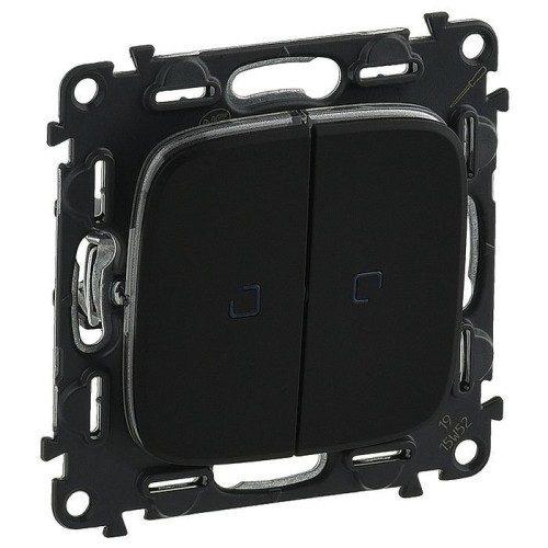 Legrand Valena Allure Кнопочный выключатель 2 клавишный с подсветкой 10А 250В безвинтовые зажимы Черный