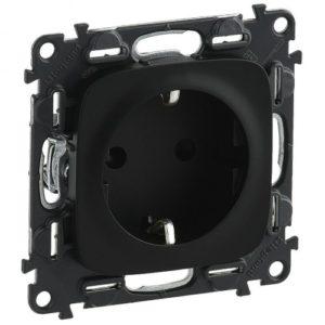 Legrand Valena Allure Розетка с заземлением с защитными шторками 2К+З 16А 250В безвинтовые зажимы Черная