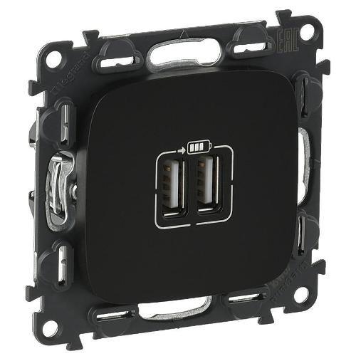 Legrand Valena Allure Розетка USB двойная для зарядки 1500 мА Черная