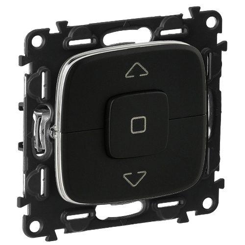 Legrand Valena Allure Выключатель кнопочный 250В для управления жалюзи/штор/тентов безвинтовые зажимы Черный
