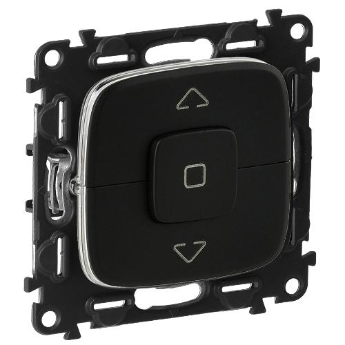 Legrand Valena Allure Выключатель управления 6АХ 250В для жалюзи/штор/тентов безвинтовые зажимы Черный