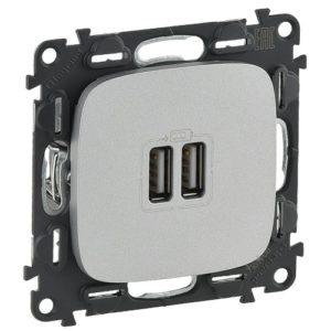 Legrand Valena Allure Розетка USB двойная для зарядки 1500 мА Алюминий