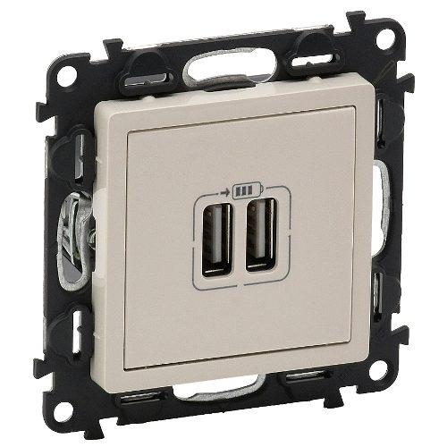 Legrand Valena Life Розетка зарядная USB двойная 5v 1500mA винтовой зажим Слоновая кость