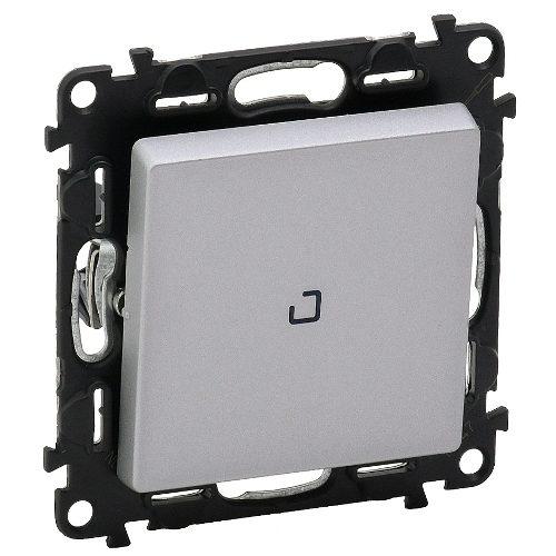 Legrand Valena Life Кнопочный выключатель 1 клавишный с подсветкой 10АХ 250В безвинтовые зажимы Алюминий