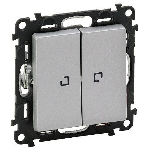 Legrand Valena Life Кнопочный выключатель 2 клавишный с подсветкой 10А 250В безвинтовые зажимы Алюминий