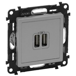 Legrand Valena Life Розетка зарядная USB двойная 5v 1500mA винтовой зажим Алюминий