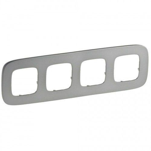 Legrand Valena Allure Рамка 4 местная универсальная Полированная сталь