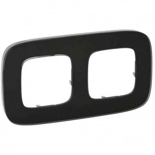 Legrand Valena Allure Рамка 2 местная универсальная Черное стекло