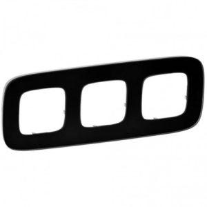 Legrand Valena Allure Рамка 3 местная универсальная Черное стекло