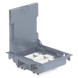 Напольная коробка с глубиной 75-105 мм 12 модулей - антикоррозийное покрытие, серый RAL