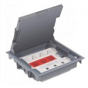 Напольная коробка с глубиной 75-105 мм 18 модулей - антикоррозийное покрытие, серый RAL
