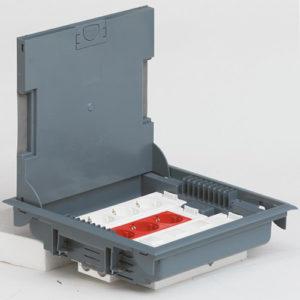 Напольная коробка с глубиной 75-105 мм 18 модулей — под покрытие, серый RAL