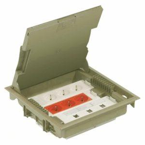 Напольная коробка с глубиной 75-105 мм 18 модулей — под покрытие, бежевый RAL