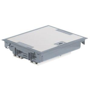 Напольная коробка с глубиной 75-105 мм 24 модуля - антикоррозийное покрытие, серый RAL