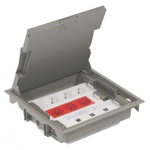 Напольная коробка с глубиной 75-105 мм 24 модуля - под покрытие, серый RAL