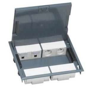 Напольная коробка с глубиной 65 мм 10 модулей — под покрытие, серый RAL