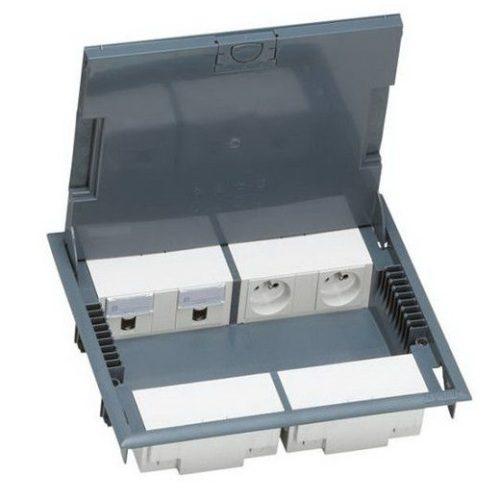 Напольная коробка с глубиной 65 мм 16 модулей — под покрытие, серый RAL