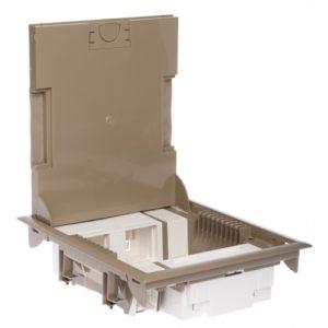 Напольная коробка с глубиной 65 мм 16 модулей — под покрытие, бежевый RAL