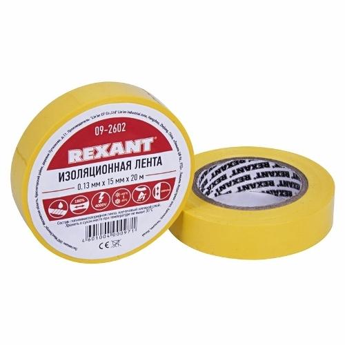 Изолента ПВХ 15 мм 20 м цвет желтый Rexant