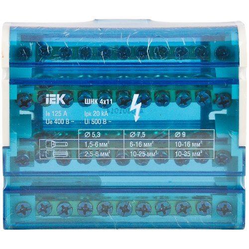 Кросс-модуль на DIN-рейку 3L+PEN 4х11 контактов IEK