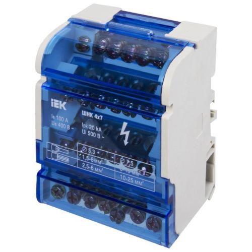 Кросс-модуль на DIN-рейку 3L+PEN 4х7 контактов IEK