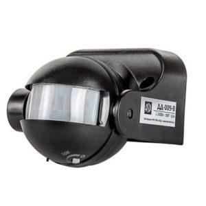 Датчик движения инфракрасный ДД-009-B 1200Вт 180 градусов 12м IP44 черный ASD