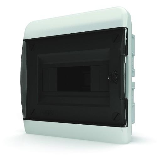 Щит распределительный навесной Tekfor B IP41 на 8 модулей с прозрачной черной дверцей