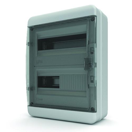 Щит распределительный навесной Tekfor B IP65 на 24 модуля с прозрачной черной дверцей