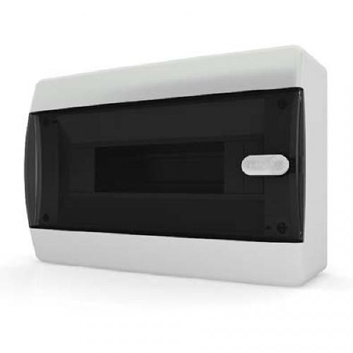 Щит распределительный навесной Tekfor C IP41 на 12 модулей с прозрачной черной дверцей