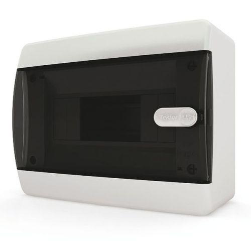 Щит распределительный навесной Tekfor C IP41 на 8 модулей с прозрачной черной дверцей